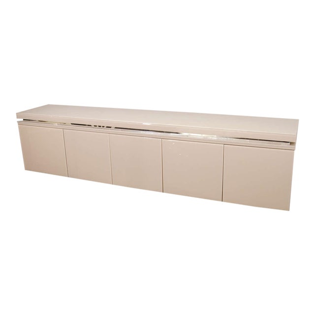 Reverse Painted Glass Sideboard For Sale