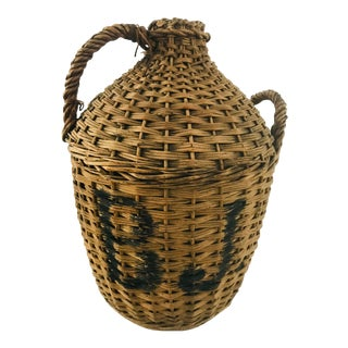 Antique Early 20th Century Large Demijohn in Wicker For Sale