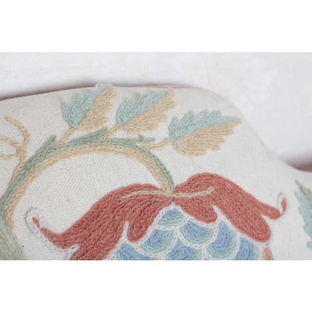 Vintage Woodmark Original Crewel Embroidered Wingback Chair For Sale - Image 9 of 11