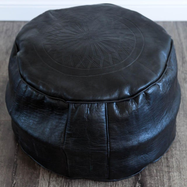 Moroccan Leather Pouf in Black - Image 2 of 4