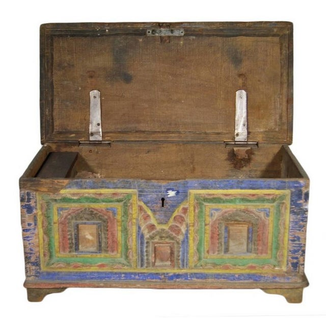 Blue Antique Indian Hand-Carved and Painted Trunk with Patina, 19th Century For Sale - Image 8 of 11