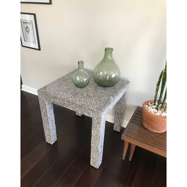 White Contemporary Made Goods Vertagus Shell Inlay Parsons Side Table For Sale - Image 8 of 13