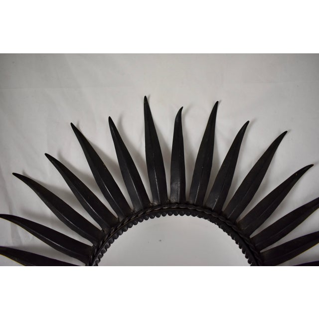 French Mid-Century Black Wrought Iron Tapered Ray Sunburst Wall Mirror For Sale - Image 9 of 13