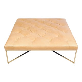 Gold Metal Base Leather Ottoman For Sale