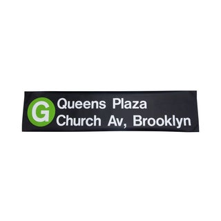 "1980s New York ""G"" Train Subway Sign"