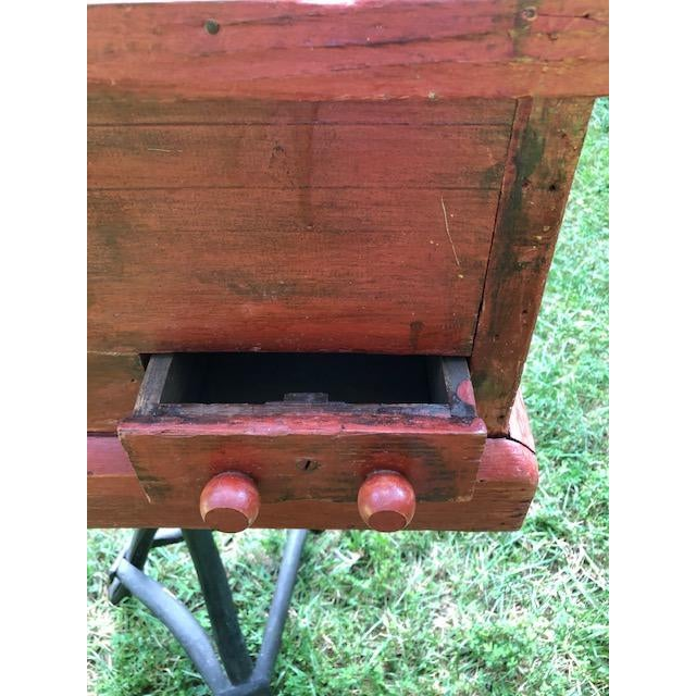 Brick Red 19th Century Primitive Carpenters Painted Chest/Box For Sale - Image 8 of 10