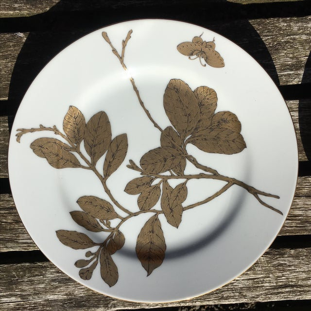 Vintage Gold and White Porcelain Plates - Pair - Image 4 of 7