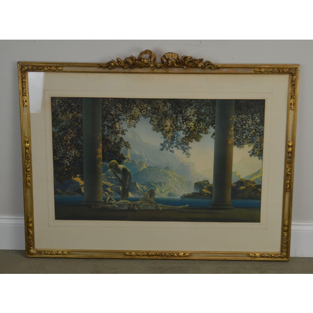 "Gold Maxfield Parrish ""Daybreak Vintage Framed Print or Lithograph For Sale - Image 8 of 13"