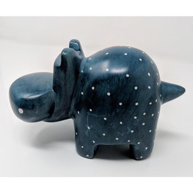Hand Carved Navy Blue Soapstone Hippopotamus For Sale - Image 4 of 8