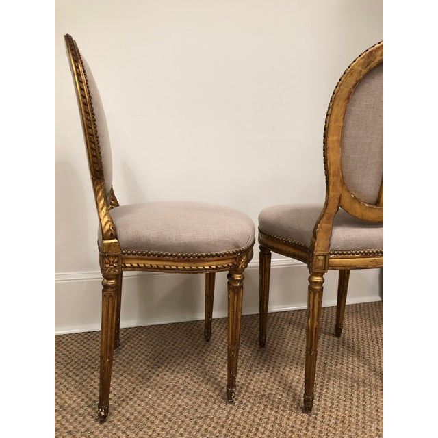 1900 - 1909 1940s Vintage Gilt French Oval Back Chairs- a Pair For Sale - Image 5 of 10