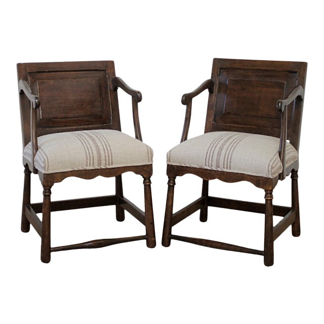 Pair of Fruitwood Carved and Upholstered Arm Chairs For Sale