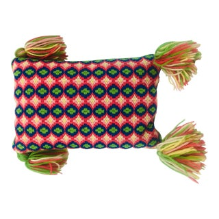 Rectangular Boho Needlepoint Pillow With Tassels For Sale