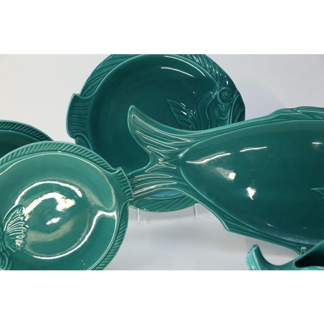 Ceramic Set of Teal Fish-Shape Ceramic Dishes For Sale - Image 7 of 11