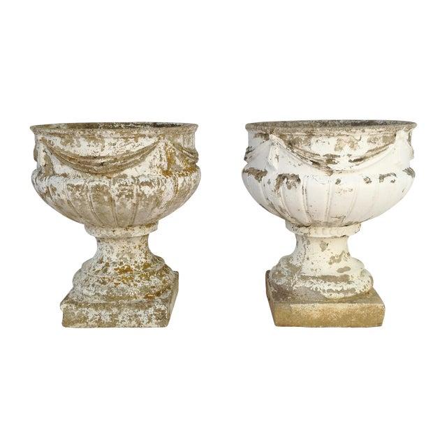 Concrete Garden Urns - A Pair - Image 1 of 4