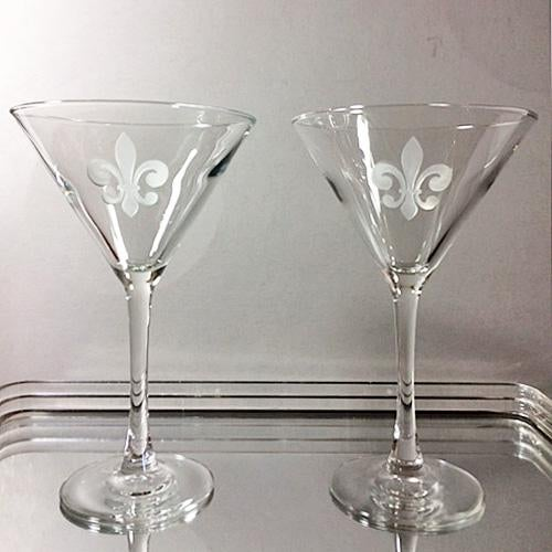 Early 21st Century Fleur De Lis Etched Martini Glasses - a Pair For Sale - Image 5 of 5