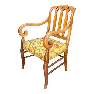Antique Biedermeier Fruitwood Armchair For Sale