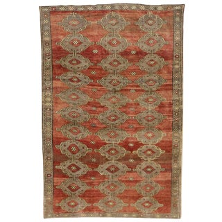Modern Traditional Vintage Turkish Oushak Rug With Jacobean Style, 07'06 X 11'04 For Sale