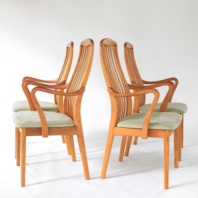 About this stunning set of 2 Stunning Danish Teak Upholstered Dining Chairs by Schou Andersen of Denmark. Luxuriously...