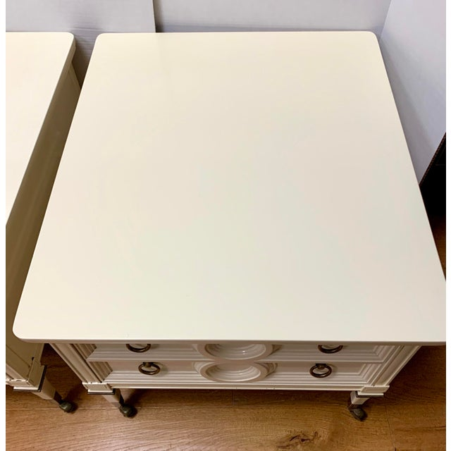 1960s Mid Century Mastercraft Lacquered Nightstands Bedside Tables- a Pair For Sale - Image 5 of 10