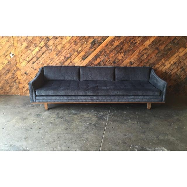 Mid Century Style Custom Walnut Trim Sofa - Image 3 of 8