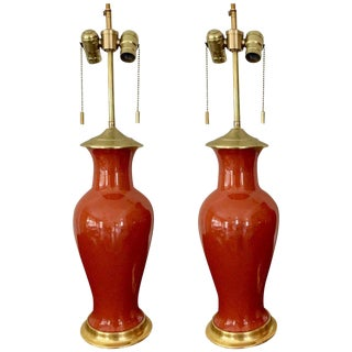 1960s Japanese Orange Porcelain Lamps - a Pair