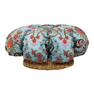 Franco Albini Mid-Century Paisley Sheath Tufted Ottoman For Sale