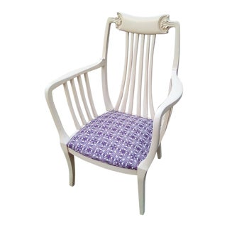 Vintage White & Purple Side Chair For Sale
