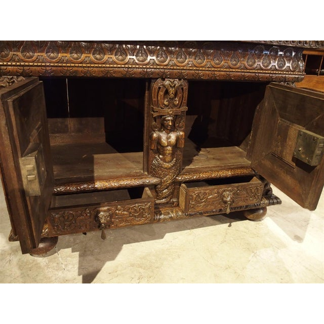French Walnut Wood Renaissance Buffet For Sale - Image 11 of 11