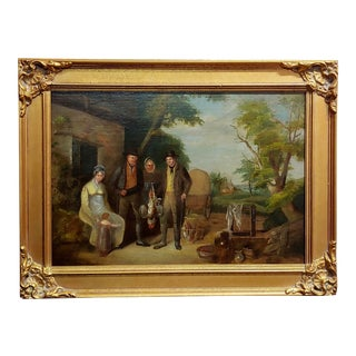 Family Outside Their Farm -19th Century English School -Oil Painting-1820s For Sale