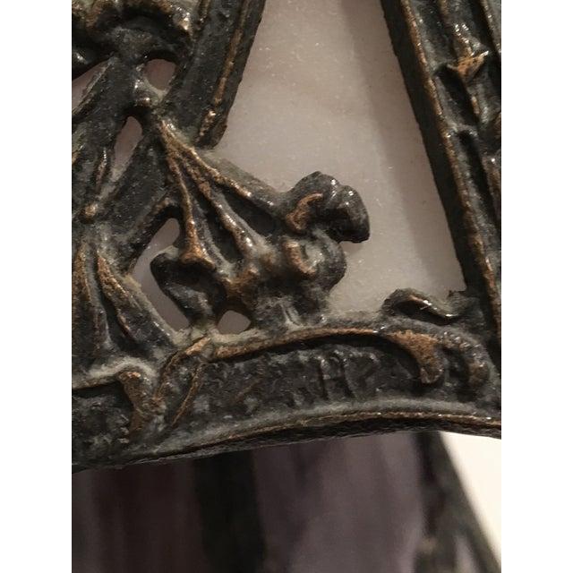 Art Nouveau Deco Slag Glass Lamp - Image 3 of 10