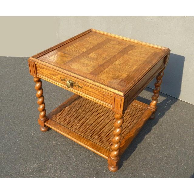 1970s Baker Furniture Barley Twist Cane Shelf End Table ~ Side Table For Sale - Image 5 of 13