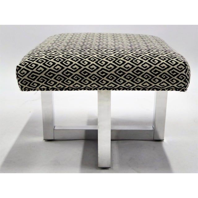 Aluminum Pair of 1960s Polished Aluminum Upholstered Stools Benches( Two Pairs Available) For Sale - Image 7 of 11