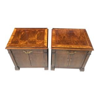 Century Biedermeier Style Pair of Nightstands-End Tables in Exotic Wood. For Sale