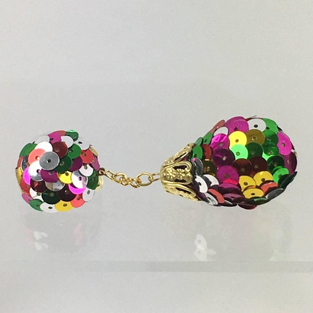 1980s Colorful Sequin Disco Balls Dangling Chandelier Clip on Earrings For Sale - Image 5 of 6