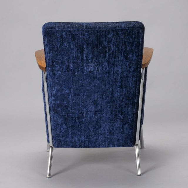 Blue Pair Bauhaus Steel and Wood Club Chairs For Sale - Image 8 of 11