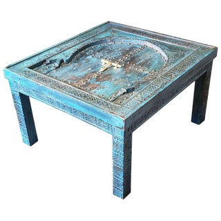 Moroccan Wooden Coffee Table - Blue Wash 2 For Sale
