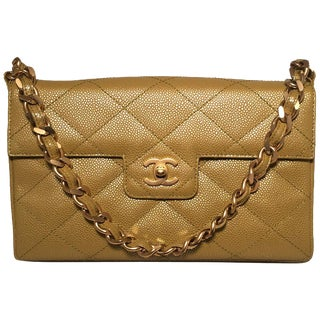 Chanel Caviar Gold Metallic Chartreuse Green Quilted Classic Flap Shoulder Bag For Sale