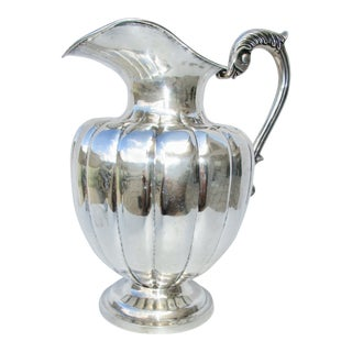 Sterling Silver Handmade Melon Body Water Pitcher For Sale