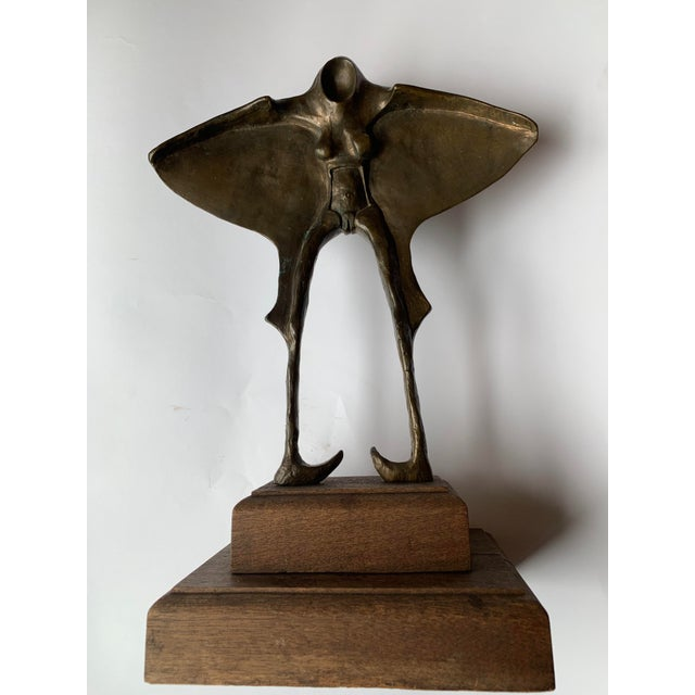 Abstract Winged Figure Bronze Sculpture For Sale - Image 10 of 10