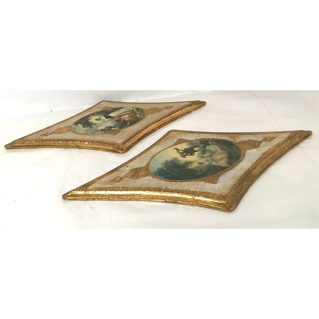 Wood Vintage Italian Florentine Wall Hangings - A Pair For Sale - Image 7 of 9