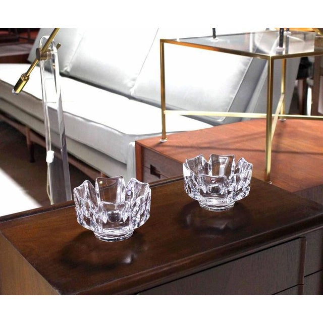 Pair of Heavy Crystal Bowl Vases by Orrefors For Sale In New York - Image 6 of 9