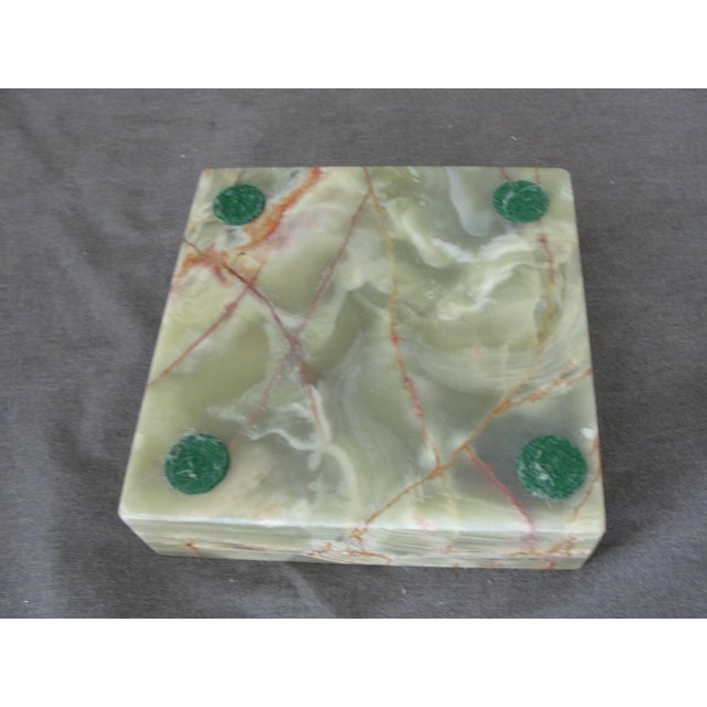 Vintage Mid-Century Modern Square Green Onyx Ashtray For Sale In Tampa - Image 6 of 6