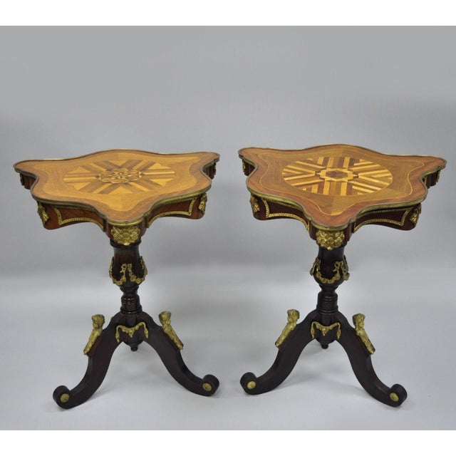 Louis XV French Style Repro Marquetry Inlay Bronze Figure Side Tables - a Pair For Sale - Image 13 of 13