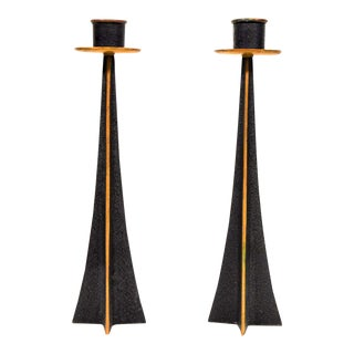Pair of Brutalist Patinated Bronze Candlesticks For Sale