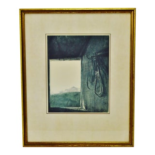 """Vintage Framed Andrew Wyeth Print """"Burning Off"""" Collection of Mr. & Mrs. Norman Woolworth For Sale"""