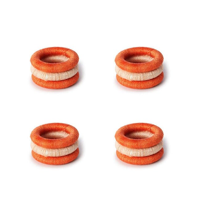 Boho Chic Stripe Napkin Rings Papaya & Blush For Sale - Image 3 of 3