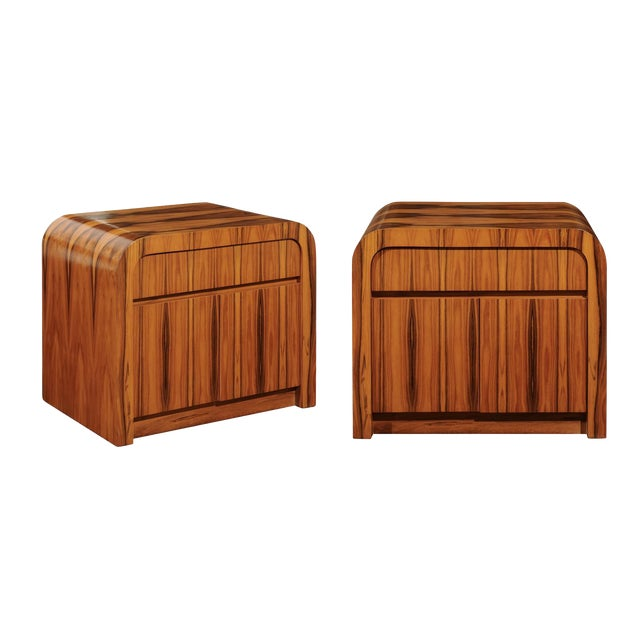 Magnificent Restored Waterfall End Tables in Bookmatched Teak, Circa 1975 For Sale