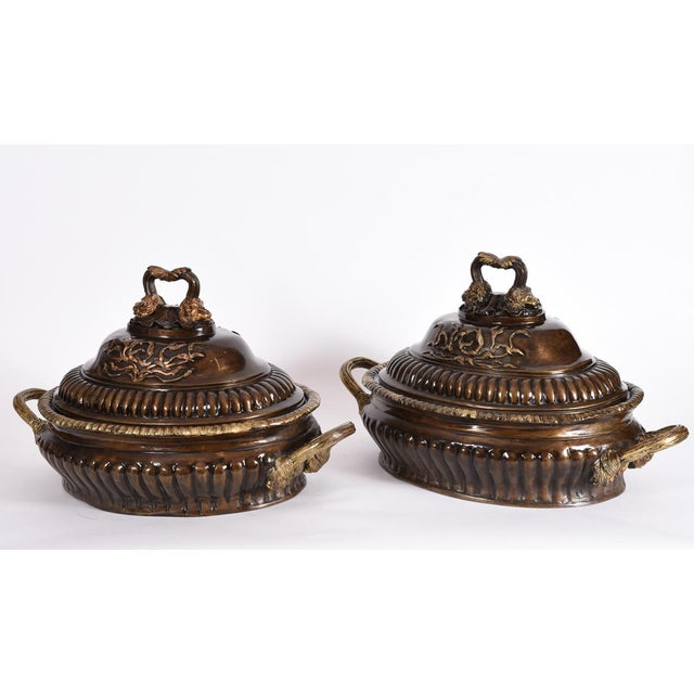 Early 20th Century Early 20th Century Neoclassical Style Bronze Centerpieces - Set of 2 For Sale - Image 5 of 13