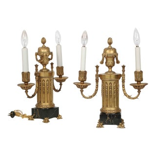 Fine Pair of Bronze and Marble Table Lamps by E.F. Caldwell circa 1900 For Sale