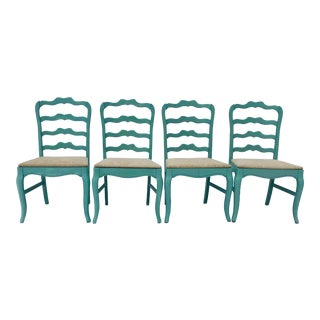 Vintage Blonde Mahogany Coastal Style Dining Chairs Decor Painted Celadon - Set of 4 For Sale